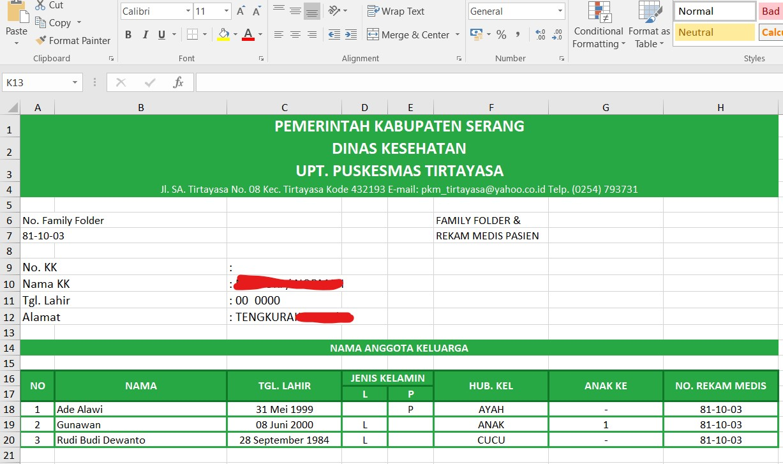 Export Data ke Ms Excel Per Keluarga