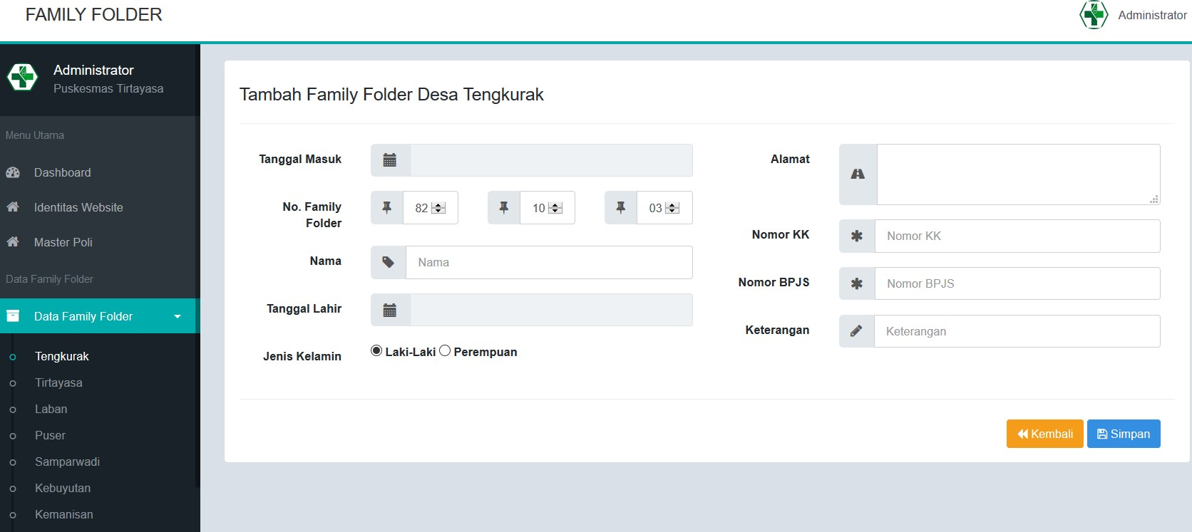 Aplikasi Rekam Medis Family Folder Tambah Data Pasien