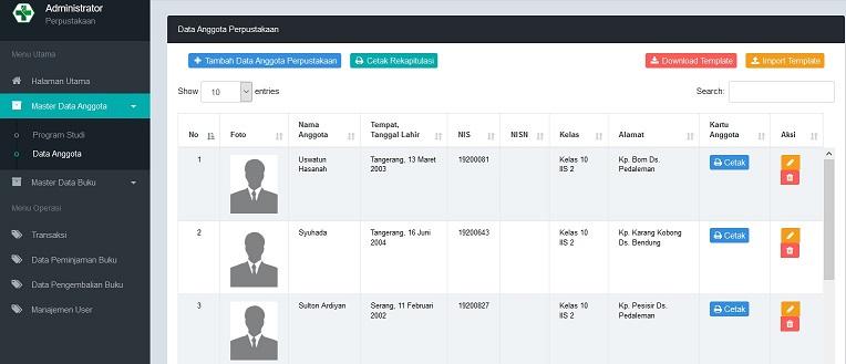 Data Anggota Aplikasi Perpustakaan