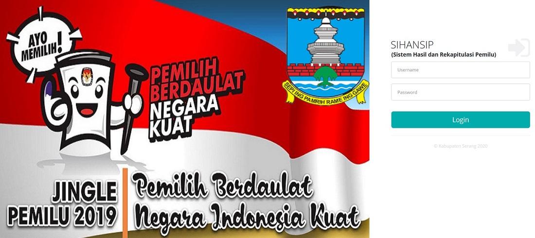 Login Aplikasi Quick Count Kabupaten Serang