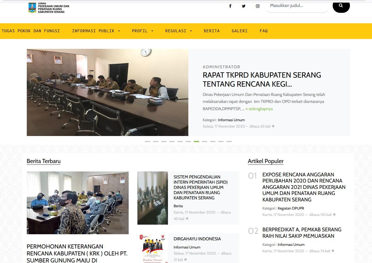 Website DPUPR Kabupaten Serang